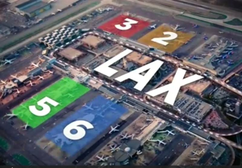 Image from the Reuters video on LA airport woes from airlines' switch of terminals.
