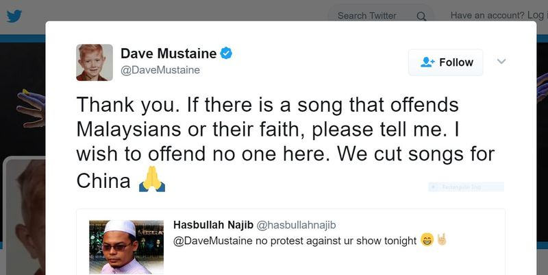 Megadeth's frontman Dave Mustaine tweeted to thank PAS for not protesting against its concert.