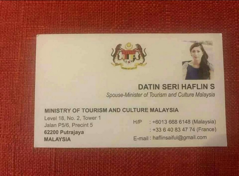 """An image of the business card touting a Datin Seri Haflin S as the """"Spouse-Minister of Tourism and Culture Malaysia"""" was circulated through social media platforms earlier today."""