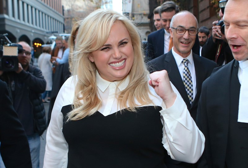 Australian comedian and actor Rebel Wilson reacts as she leaves the Victorian Supreme Court in Melbourne, Australia, June 15, 2017. — Reuters pic