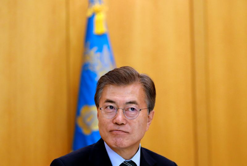 South Korean President Moon Jae-in looks on, during an interview with Reuters, at the Presidential Blue House in Seoul, South Korea June 22, 2017. — Reuters pic