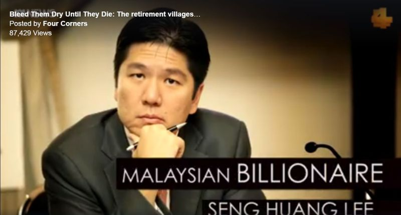 A screenshot of billionaire Lee Seng Huang, who is the non-executive chairman of Aveo, Australia's largest listed retirement village operator. ― Picture via Facebook/Four Corners