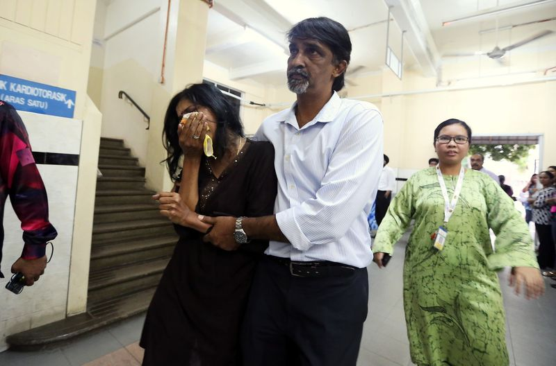 D. Shanti, the mother of bully victim T. Nhaveen, could not control her grief after being told of her son's death at the Penang Hospital, June 15, 2017. — Bernama pic