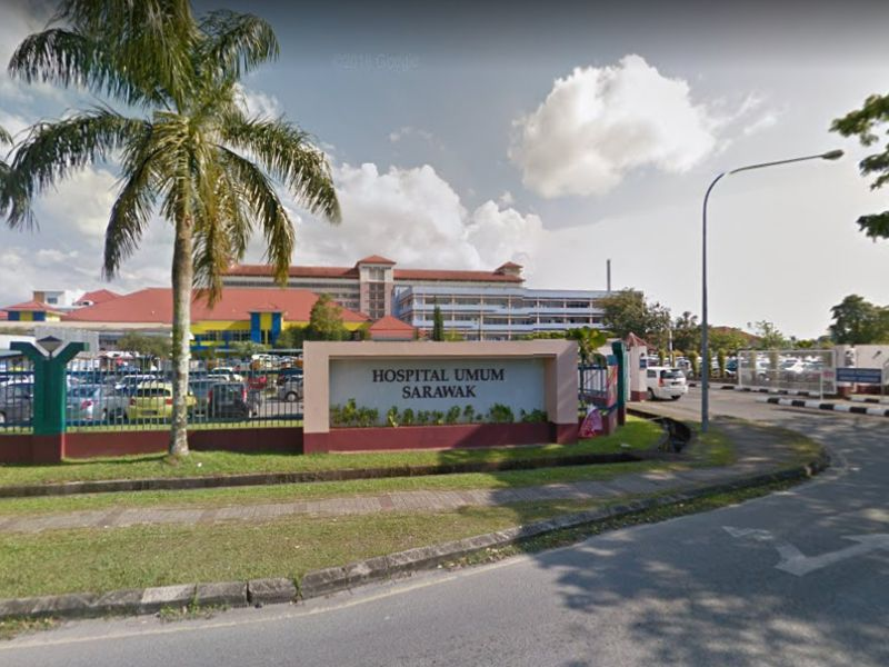 A Google screenshot of the Sarawak General Hospital. A man died from Covid-19 at the hospital today.