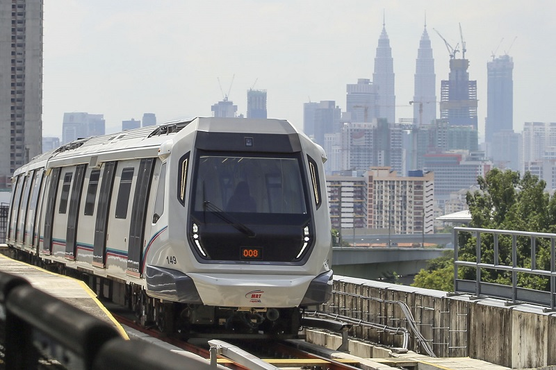 A view of one of the trains of the Mass Rapid Transit in Kuala Lumpur July 17, 2017. — Picture by Yusof Mat Isa