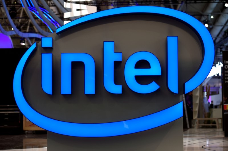 Intel's logo is pictured during preparations at the CeBit computer fair, which will open its doors to the public on March 20, at the fairground in Hanover March 19, 2017. — Reuters pic