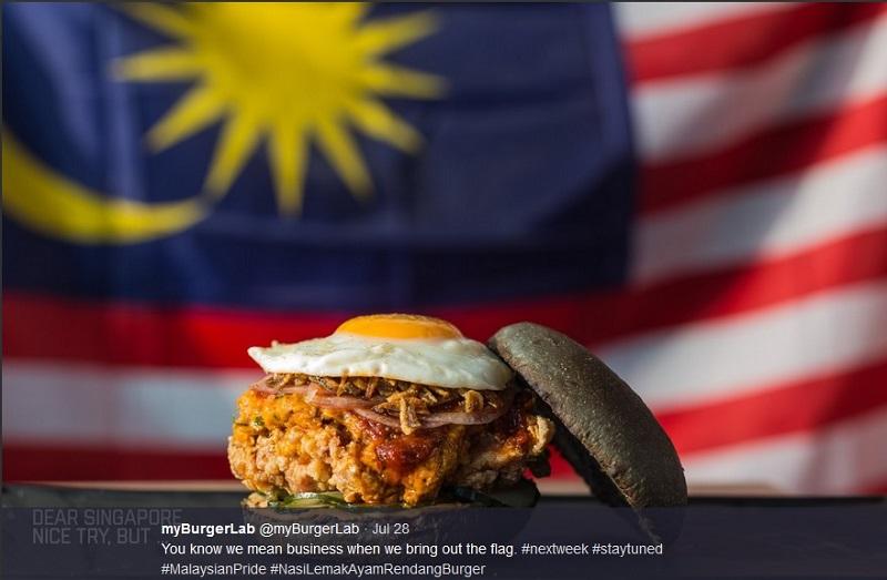 A sneak peek of the Nasi Lemak Ayam Rendang burger as shared on Twitter by myBurgerLab.