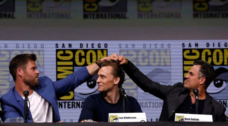 (From left) cast members Chris Hemsworth, Tom Hiddleston and Mark Ruffalo at a panel for 'Thor: Ragnarok' during the 2017 Comic-Con International Convention in San Diego, California, July 22, 2017. — Reuters pic