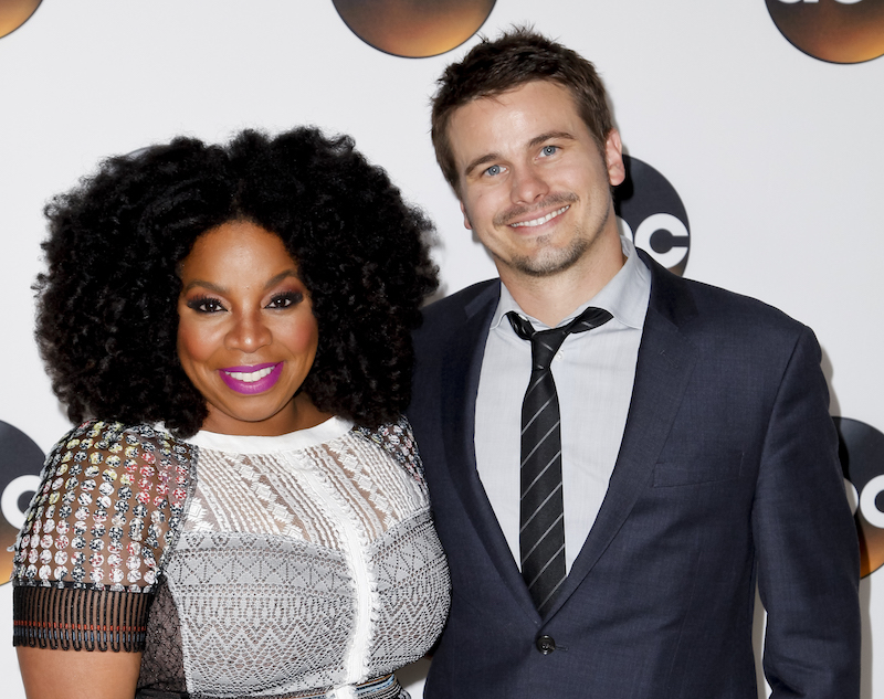 Actors Kimberly Hebert Gregory and Jason Ritter pose during the 2017 Summer TCA Tour Disney ABC Television Group in Los Angeles August 6, 2017. — AFP pic