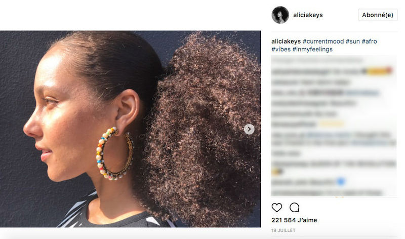 Alicia Keys sporting beaded multi-coloured hoops. — Picture courtesy of Instagram/@aliciakeys