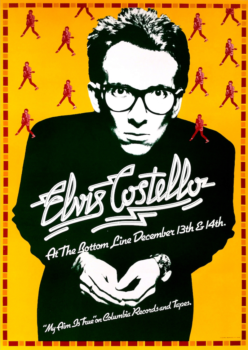 Elvis Costello at the Bottom Line, part of the 'Gone Tomorrow' exhibition at Poster House. — Handout via AFP