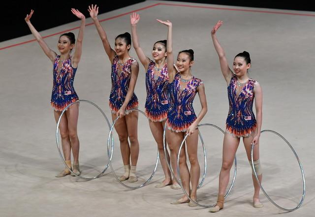 Malaysia's gymnasts celebrate winning the gold medal in Team Rhythmic Gymnastics during the Kuala Lumpur 2017 SEA Games. — Bernama file pic
