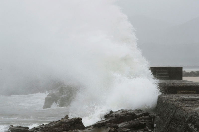 A wave, caused by Typhoon Noru, splashes the coast in Kushima, Miyazaki prefecture, Japan, August 6, 2017 in this photo taken by Kyodo. — Reuters pic