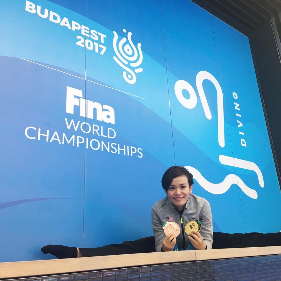 张俊虹2017年在布达佩斯创史拿下我国首个跳水世界冠军!-摘自张俊虹脸书-