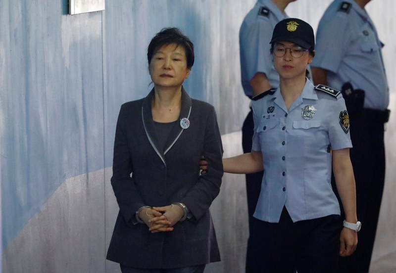 South Korean ousted leader Park Geun-hye arrives at a court in Seoul August 7, 2017. — Reuters pic