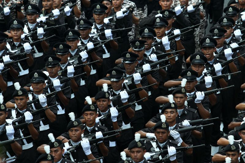 The Royal Malaysia Police take part in the 60th National Day parade at Dataran Merdeka in Kuala Lumpur on August 31, 2017. ― Picture by Miera Zulyana