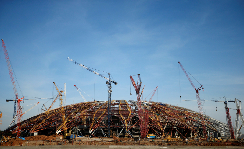 A general view shows a Samara Arena stadium under construction ahead of 2018 Fifa World Cup in Samara July 17, 2017. — Reuters pic