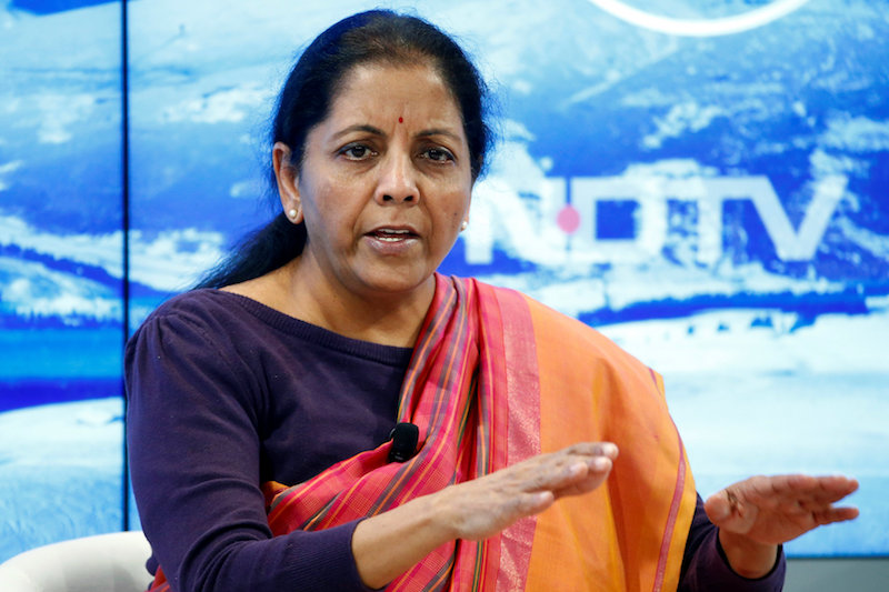 Nirmala Sitharaman attends the World Economic Forum (WEF) annual meeting in Davos, Switzerland January 19, 2017. The finance minister set an ambitious target of 1.05 trillion rupees from the sale of stakes in state-run companies July 8, 2019. — Reuters pic