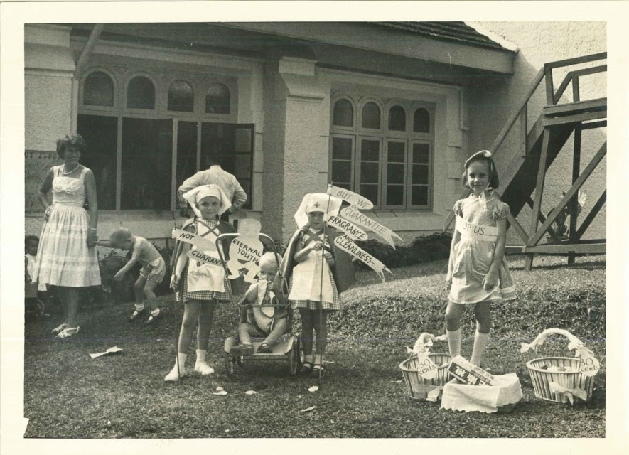 Children from St Andrew's Sunday School help out too by selling soap at the church's Sale of Work on July 7, 1962. — Picture courtesy of St Andrew's Presbyterian Church