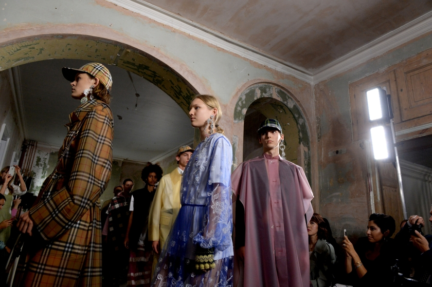 Models present creations at the Burberry Spring/Summer 2018 show at London Fashion Week in London September 17, 2017. — Reuters pic