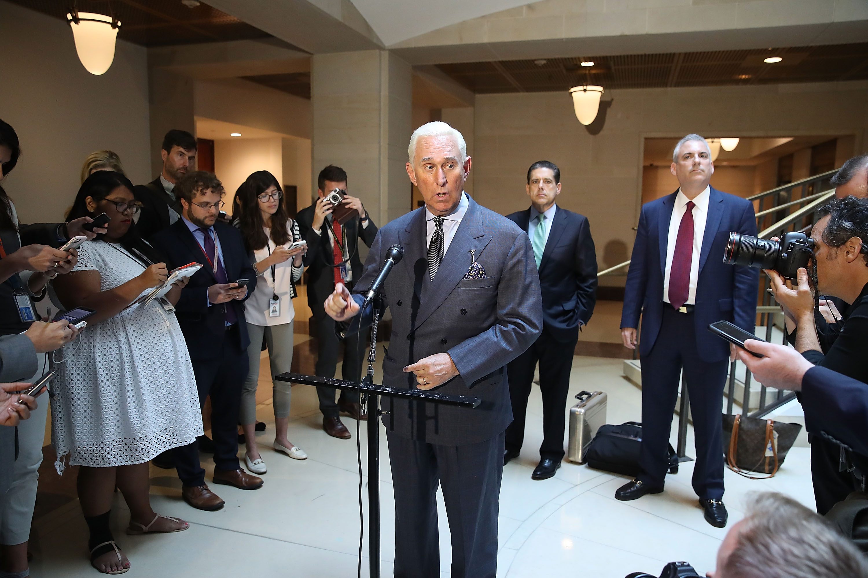 US political consultant Roger Stone speaks to reporters at the US Capitol in Washington, US, September 26, 2017. — AFP pic