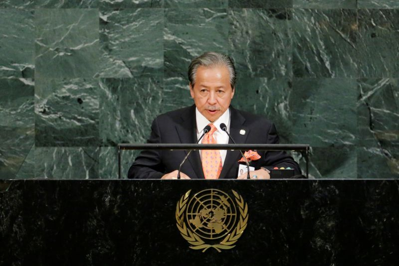 Foreign Affairs Minister Datuk Seri Anifah Aman addresses the 72nd United Nations General Assembly at UN headquarters in New York September 22, 2017. Anifah said  said several countries were unable to extend their quid pro quo support for Malaysia's new bid for the 2018-2020 term on the UN Human Rights Council. — Reuters pic