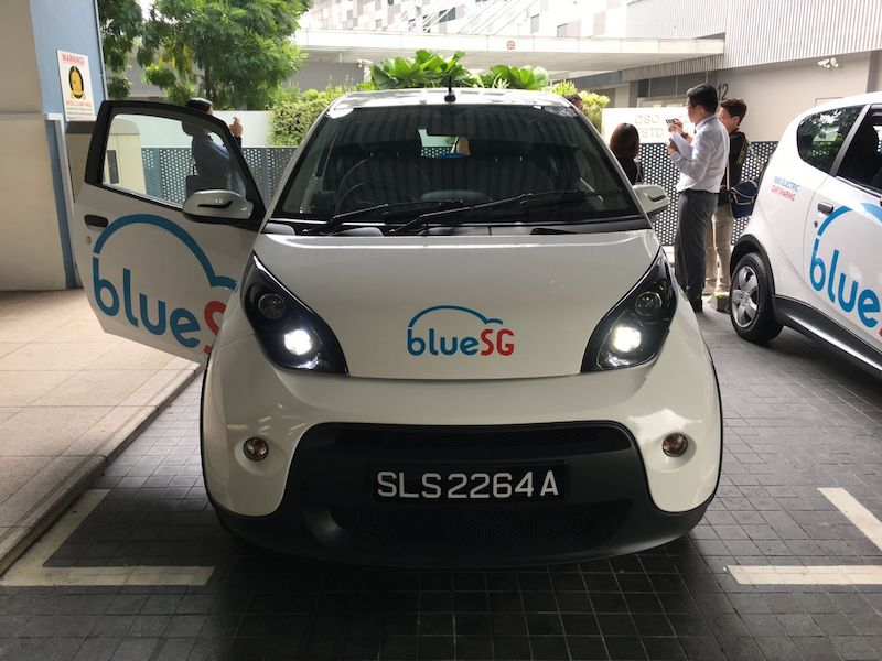 From December, about 80 electric cars under the first large-scale island-wide electric car-sharing programme from developer and operator BlueSG will hit the roads progressively. — TODAY pic