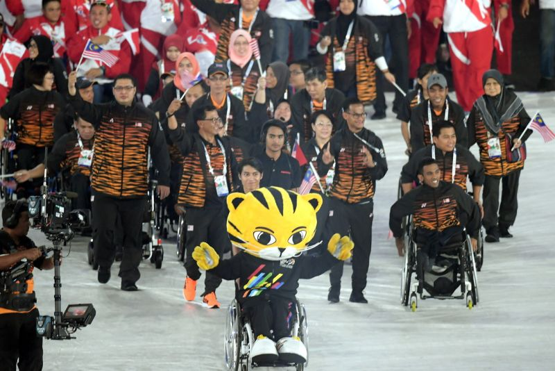 The Malaysian contingent at the 9th Asean Para Games closing ceremony in Bukit Jalil September 23, 2017. ― Bernama pic