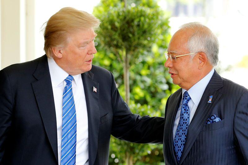 US President Donald Trump welcoming Prime Minister Datuk Seri Najib Razak to the White House in Washington, September 12, 2017. — Reuters pic