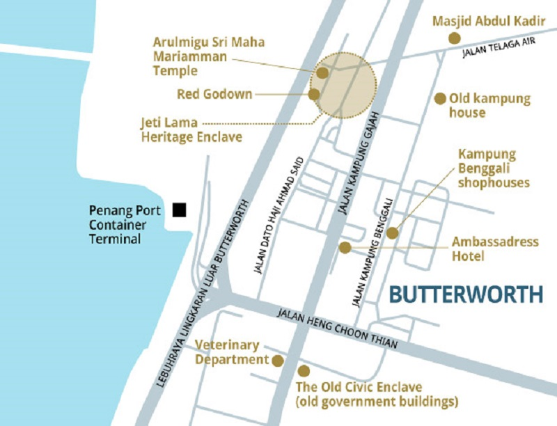 A map of the heritage walk around Butterworth.