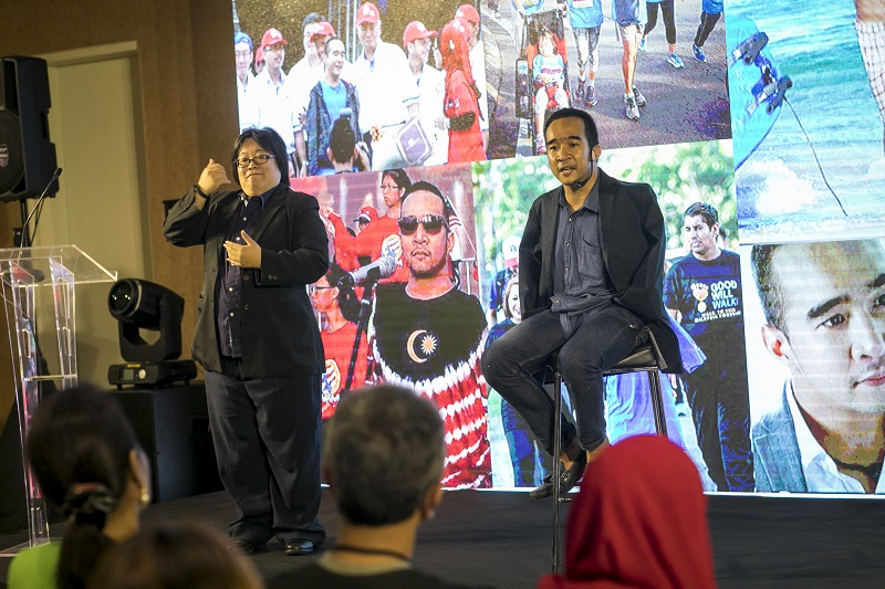 Zhariff Afandi talking about his experiences growing up without limbs at the launch event of 'Childhood Disability in Malaysia: A Study of Knowledge, Attitudes and Practices' at KLCC October 5, 2017. — Picture courtesy of Unicef