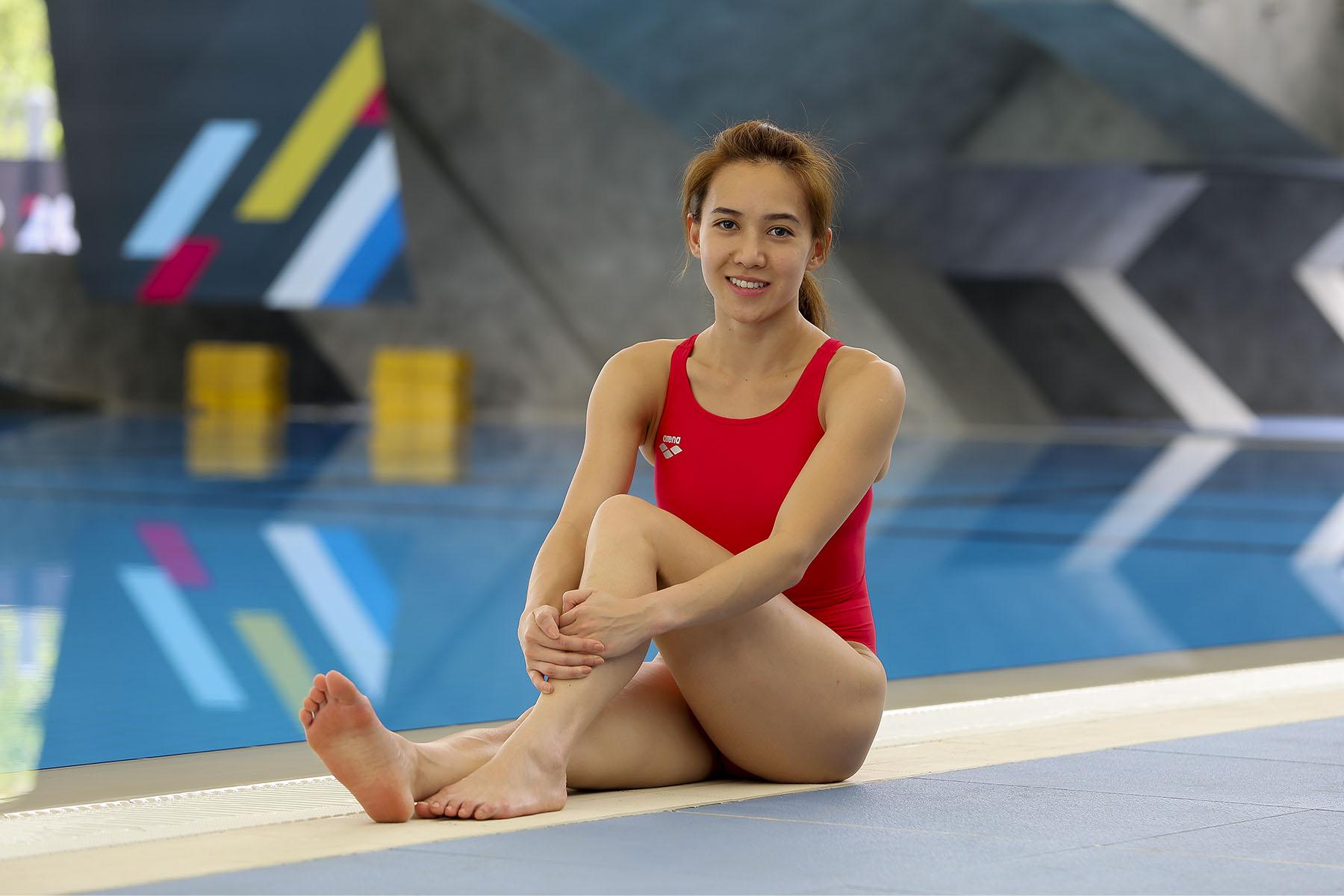梁敏仪是唯一一位首批进入国家跳水队的运动员,并在这二十多年来坚持至今。-Yusof Mat Isa摄-