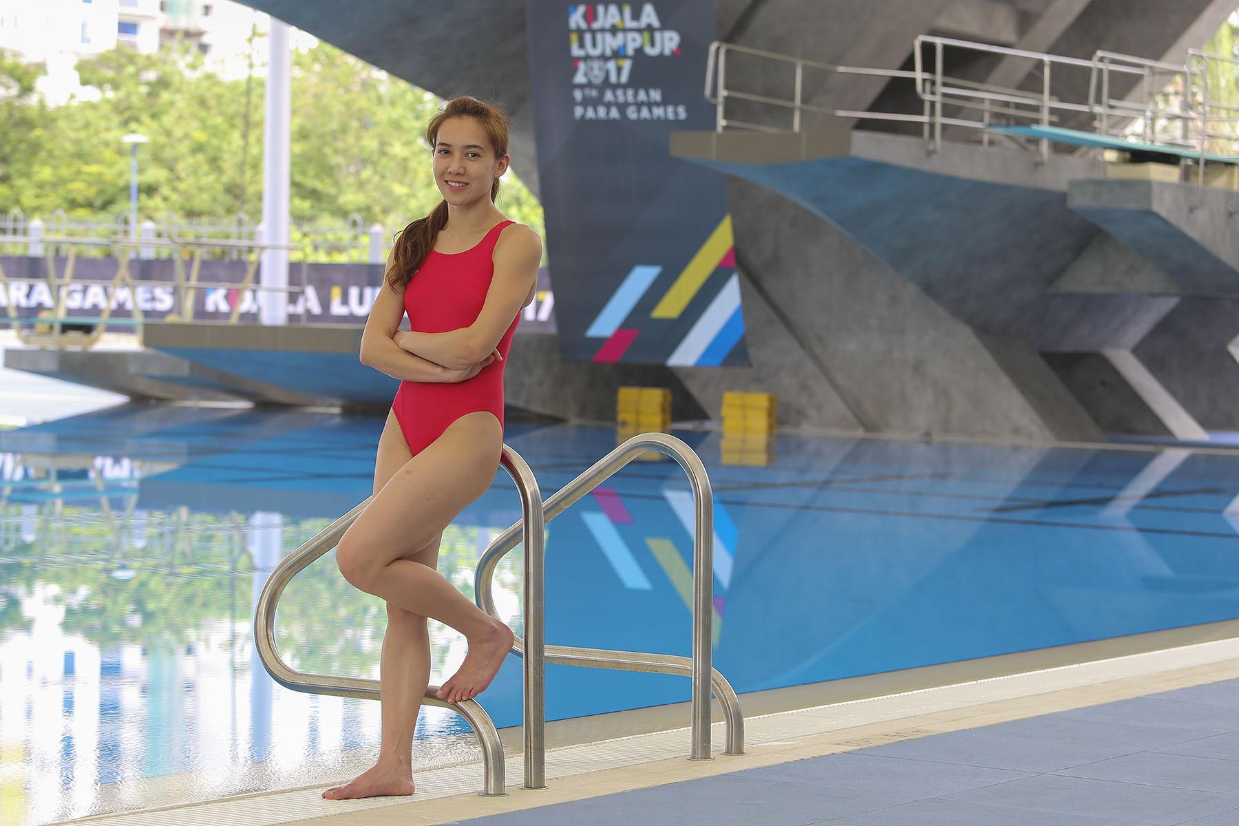 梁敏仪在二十多年的跳水生涯中,都离不开泳池。-Yusof Mat Isa摄-