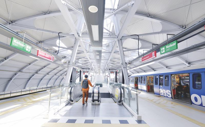 Inside the Ara Damansara LRT station. — Malay Mail pic