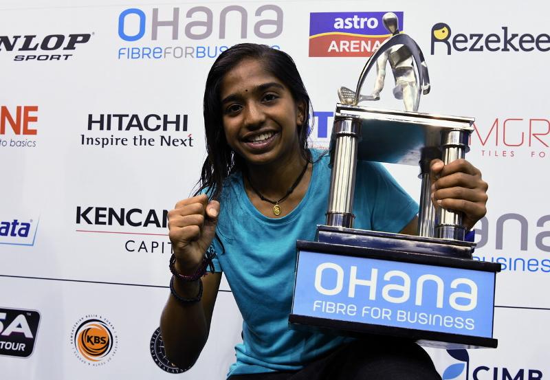 National squash player S. Sivasangari won the Malaysian Open Squash Championship singles title at Bukit Jalil National Squash Centre in Kuala Lumpur October 21, 2017. — Bernama pic