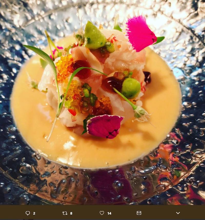 Northern lobster sashimi at Maido restaurant in Lima, Peru. — Handout via AFP