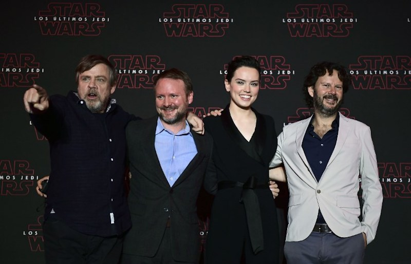 Mark Hamill, Rian Johnson, Daisy Ridley and Ram Bergman pose for pictures at a press conference to promote the film 'Star Wars: the last Jedi' in Mexico City November 21, 2017. — AFP pic