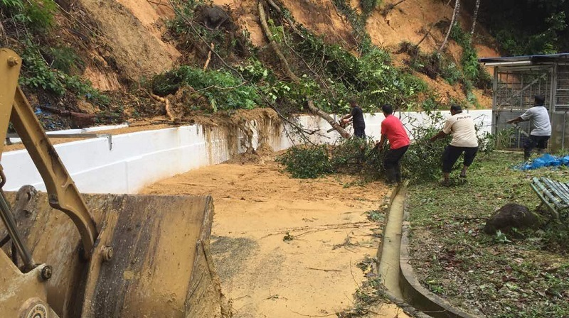 PBAPP personnel clearing fallen trees and debris at the aqueduct in the Guillemard water treatment plant in Penang. — Picture courtesy of PBAPP