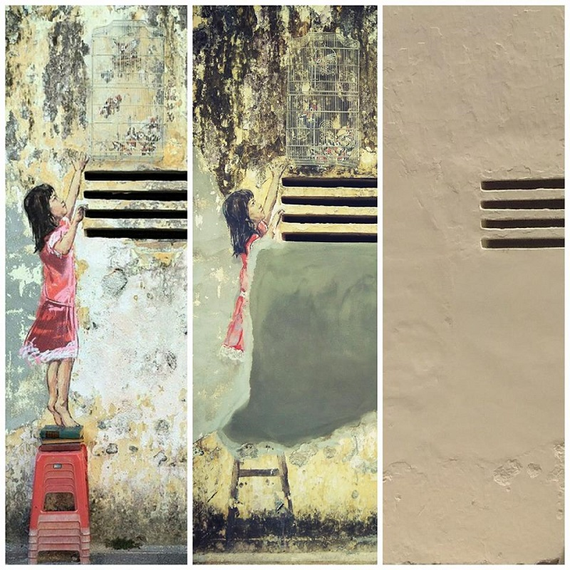 One of Lithuanian artist Ernest Zacharevic's famous murals — 'Girl with Stool and Birdcage' — along Jalan Bijih Timah in Ipoh was painted over by the building's owner last month. — Pictures by Marcus Pheong
