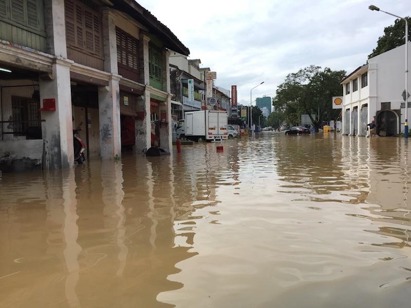 A flooded Perak Road in George Town November 5, 2017. — Picture by KE Ooi
