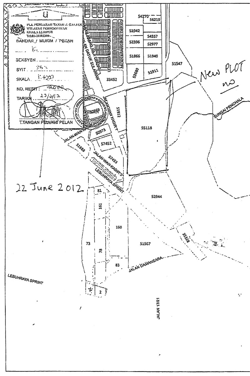 Portion of land title search in 2012 showing plot number issued for the entire Taman Rimba Kiara. — Picture courtesy of Save Taman Rimba Kiara