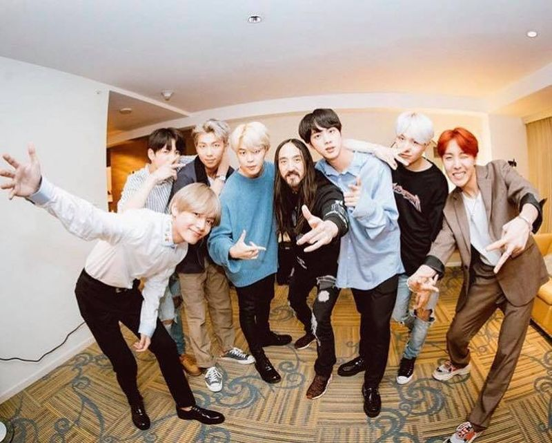 Steve Aoki posted a photo of him with the BTS boys on Facebook. — Facebook/Steve Aoki