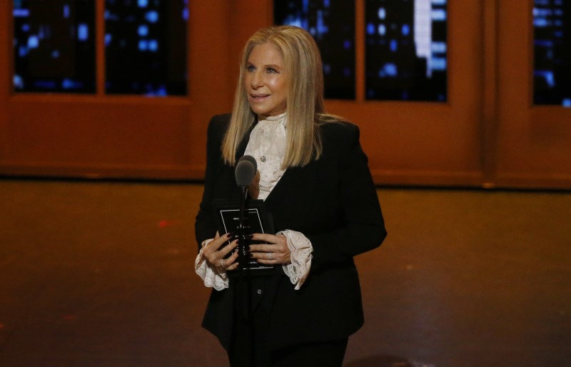 Singer Barbra Streisand speaks on stage during the American Theatre Wing's 70th annual Tony Awards in New York, June 12, 2016.