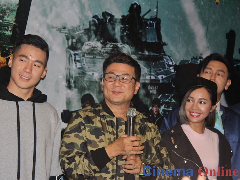 Jack Neo, flanked by the cast of 'Ah Boys to Men 4', during their recent visit to Kuala Lumpur. — CinemaOnline pic