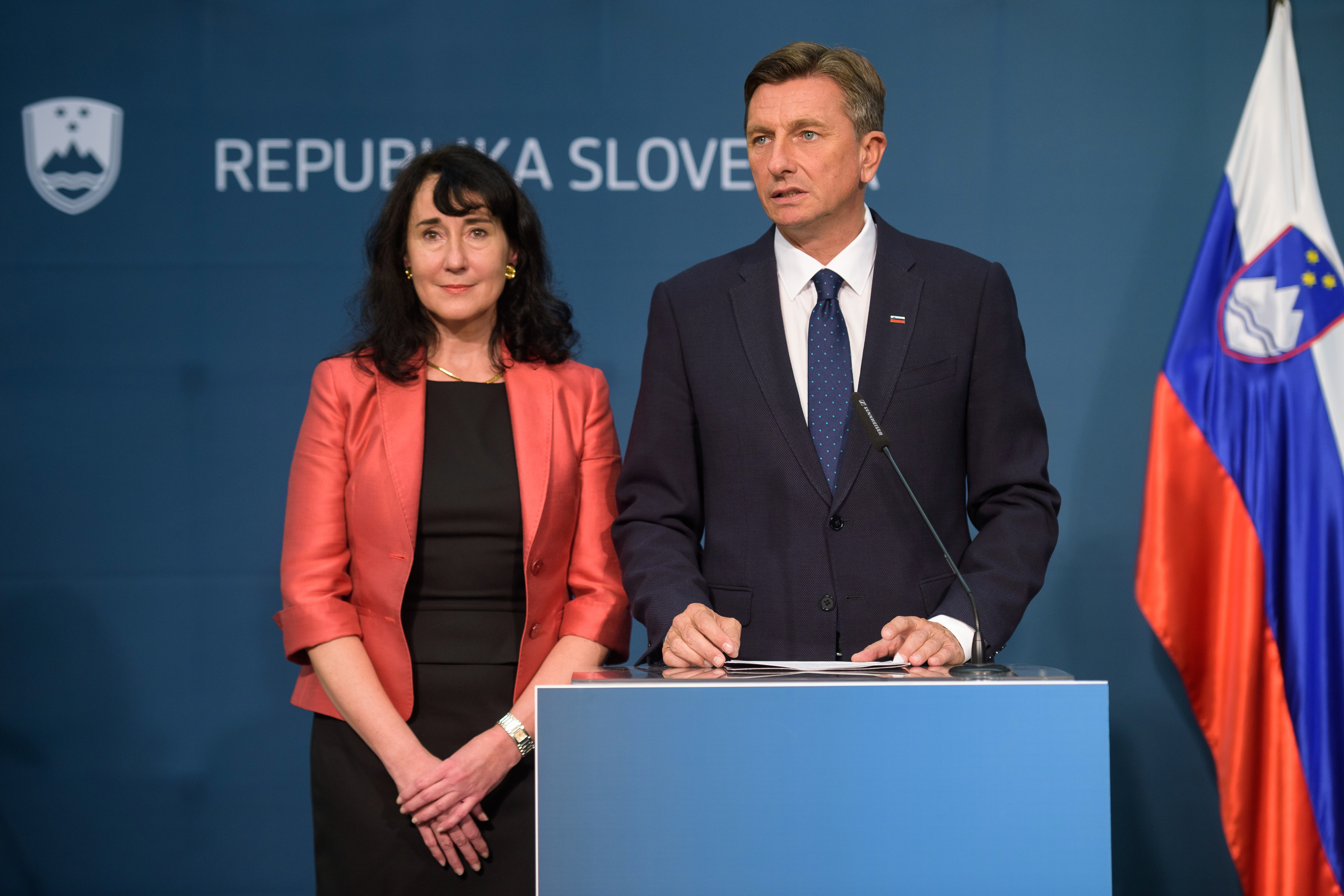 Slovenian President Borut Pahor, (seen here with partner Tanja Pecar) said a Brexit extension 'would be an option'. — AFP pic