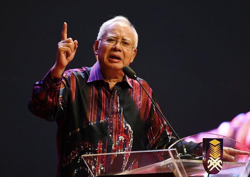 Prime Minister Datuk Seri Najib Razak speaks at the launch of the Fifth National Student Leadership Conference 2017 at Dewan Agung Tuanku Canselor, UiTM in Shah Alam December 3, 2017. — Bernama pic