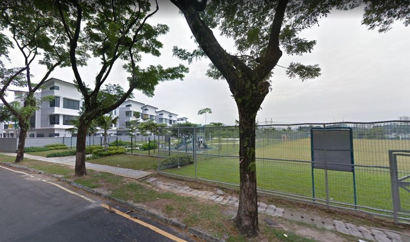 The playground in Taman Desa on which a condominium block will be built is sandwiched between the low-rise Armada Villa houses and a football field. — Picture courtesy of Protect Taman Desa