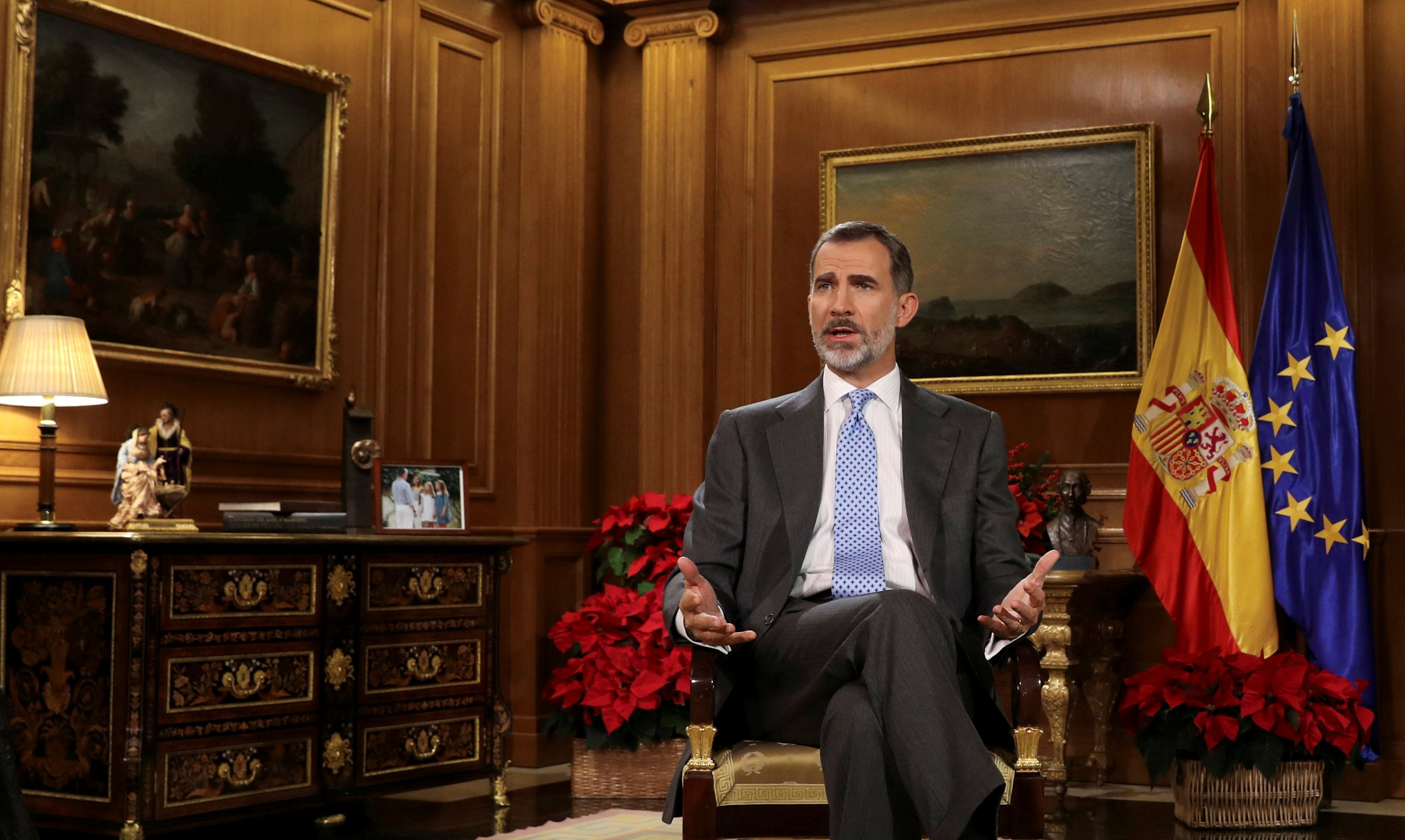 Spain's King Felipe VI delivers his traditional Christmas address at Zarzuela Palace in Madrid, Spain, December 23, 2017 in this photo released December 24, 2017. — Reuters pic