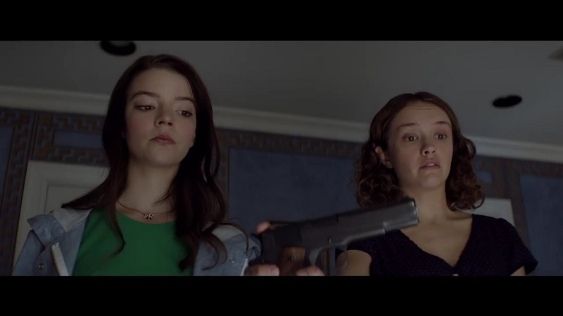 A screengrab from upcoming dark comedy 'Thoroughbreds' that stars Olivia Cooke, Anya Taylor-Joy and Anton Yelchin in one of his final roles.