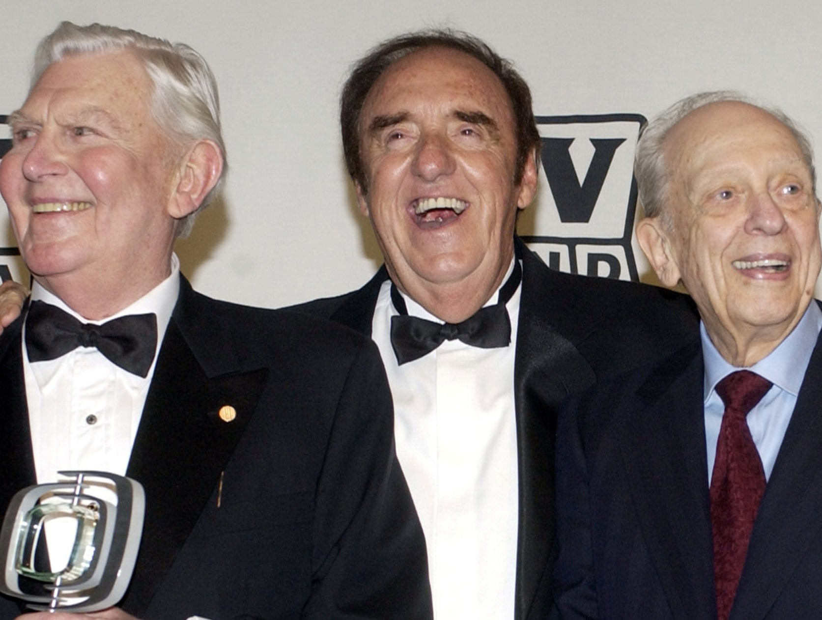 Andy Griffith, Jim Nabors and Don Knotts, cast members in 'The Andy Griffith Show', pose backstage after accepting the Legend Award during a taping of the second annual TV Land Awards in Hollywood, California, March 7, 2004. — Reuters pic